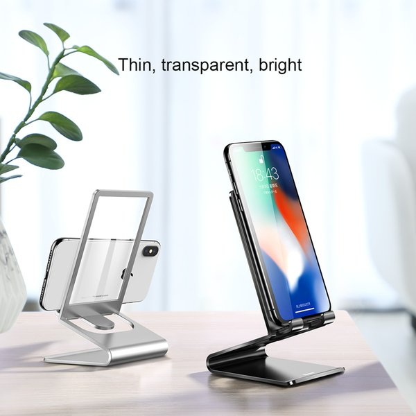 Baseus Desktop Phone Holder Transparent Glass Phone Tablet Support Stand Universal Thin Desk Holder For iPhone Samsung Huawei Xiaomi OPPO