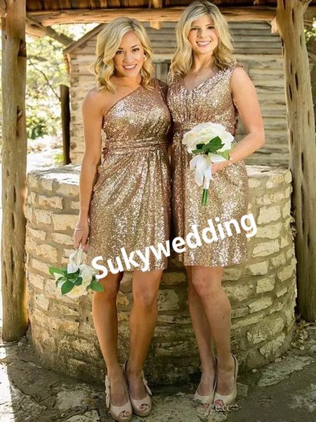 Sparky Short Bridesmaid Dresses Gold Sequined One Shoulder Sleeveless Wedding Party Gowns Back Zipper Maid of Honor Dresses Custom Made