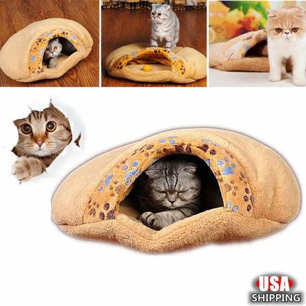 Kış Sevimli Sıcak Kedi Yatak Küçük Köpek Evi Kış Sıcak Pet Kedi Yatak Küçük Uyku Tulumu Yavru Mağara