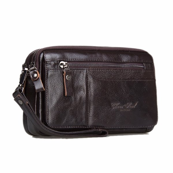 Genuine Leather Men Business Clutch Bags Mobile Phone Case Cigarette Coin Purse Pouch First Layer Cowhide Male Handy Bag Wallet