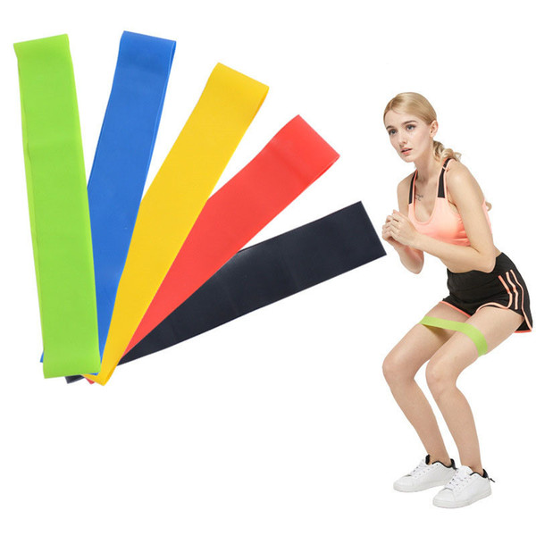 5PCS Set Resistance Band fitness 5 Levels Latex Gym Strength Training Rubber Loops Bands Fitness Equipment Sports yoga belt Toys OTH488