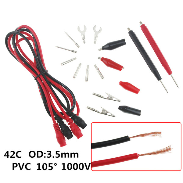 16pcs Multimeter Probe Set Multimeter Test Leads Silicone Universal Alligator Clip Probe Wire Pen Cable Multifunction Test Tool