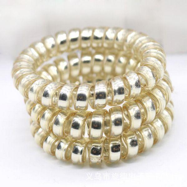 Großhandel 5 stücke Mode Frauen Mädchen Gold / Silber Elastische Telefonkabel Haarbänder Seile Pferdeschwanz