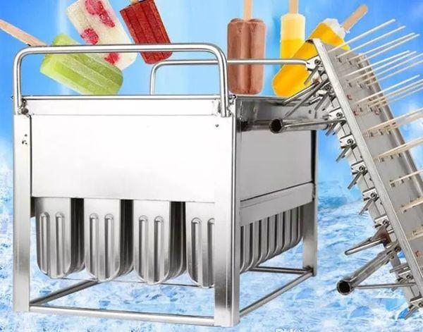 Stampo gelato ghiacciolo in acciaio inox stampo ghiacciolo muffa 40 pezzi uso commerciale saldatura robot plasma alta qualità con porta stick LLFA