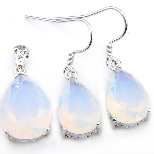 LuckyShine 5 Sets Crystal Zircon Water Drop White Opal Earrings and Pendant Chain Necklace 925 Silver Women Fashion Wedding Sets FREE SHIPP