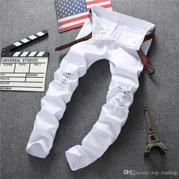 Wholesale-Swag Mens Designer Brand Black Jeans Skinny Ripped Destroyed Stretch Slim Fit Hop Hop Pants With Holes For Men JS34