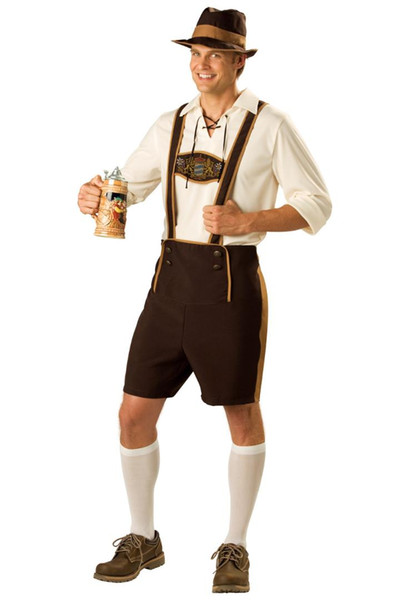 Déguisement bière allemande Guy Oktoberfest Déguisement bavaroise Lederhosen Plus Taille M L XL XXL 3XL sexy