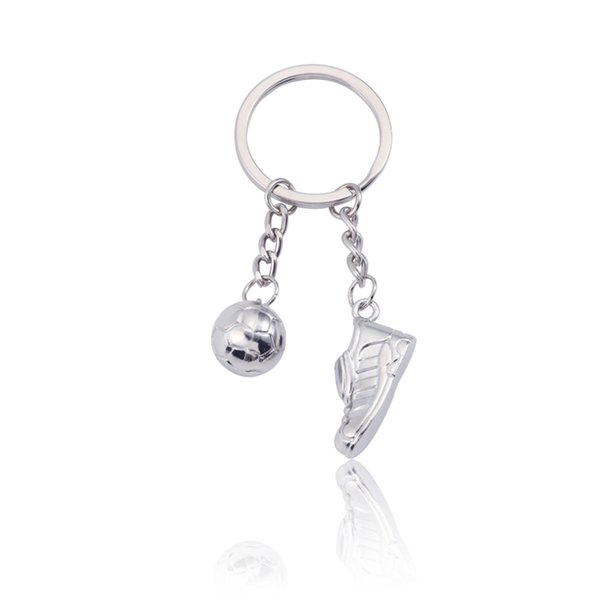 Sportliche Fußball Keychain Welt Fußball Stiefel 3D Fußball Schlüsselanhänger Silber Metall Schlüsselanhänger Schmuck Unisex Geschenke Drop Shipping