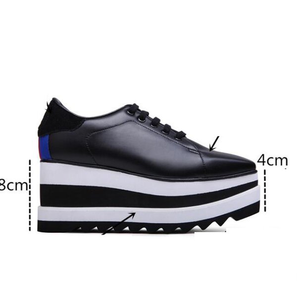 Hot Stella Mccartney Shoes Top Quality Genuine Leather Women Fashion Platform Wedge Platform Oxfords Boots Sneakers