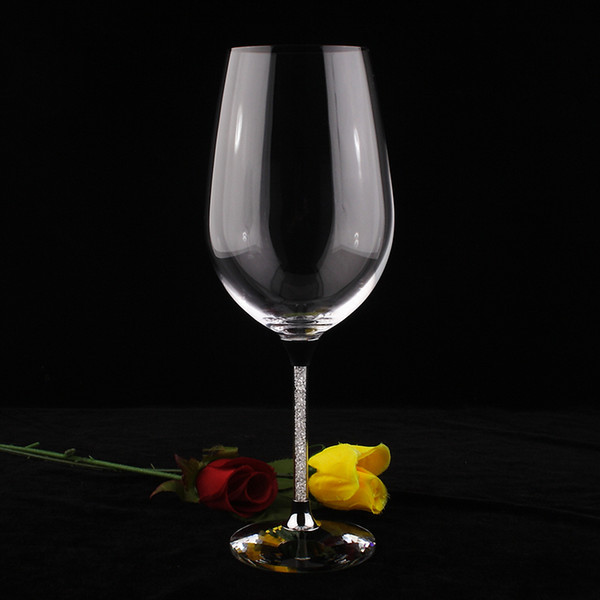 OH13260 new high classic 755ML wine glass cups for wedding red wine glasses set with stem filled rhinestones and crystal