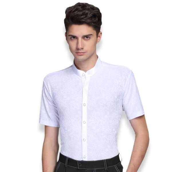 stampa maschile abiti da ballo latino maniche corte costumi di danza moderna camicia latino per adulti camicia standard sala da ballo