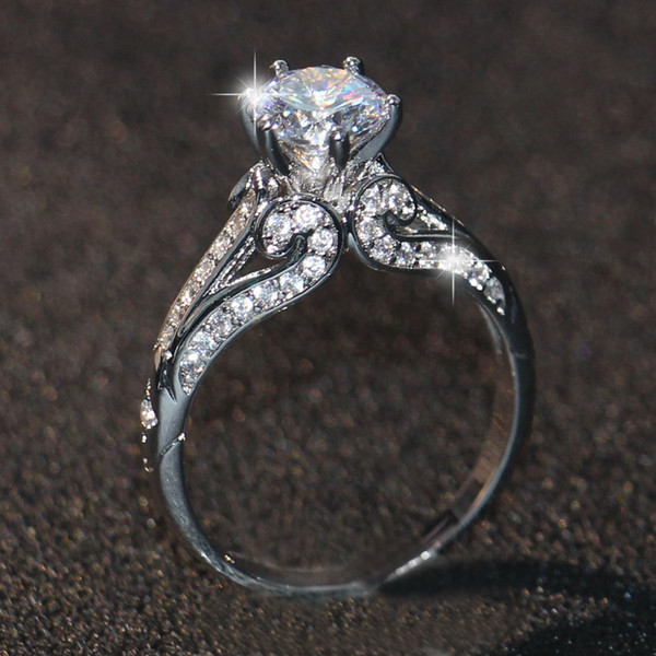 Luxuriöse Größe 5/6/7/8/9/10 Modeschmuck Hohe qualität 10kt weiß gold gefüllt GF weiß topaz frauen hochzeit GEM Ring set geschenk