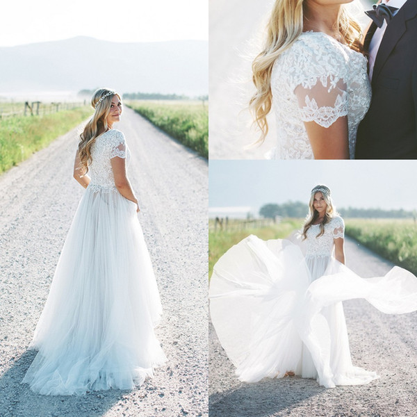 Discount Lace Top Tulle Skirt Boho Modest Wedding Dresses With Short Sleeves A Line Short Train Scoop Neck Women Bohemian LDS Bridal Gowns Cheap