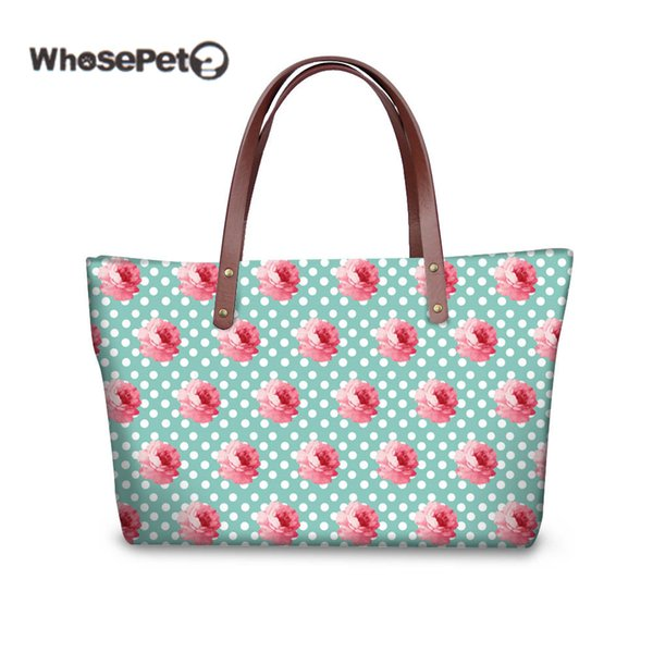 WHOSEPET Pink Flower Printed Women Tote Handbags 2018 Fashion Shoulder Bags Large Bolsa Feminina Casual Lady Beach Bags With Zip