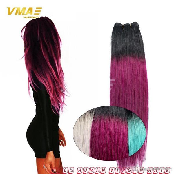 Extensiones de cabello Ombre Brasileñas rectas Ombre 1B Purple 3 Bundles Ombre 1B Extensiones de cabello Purple Bundles para niñas de cabello oscuro