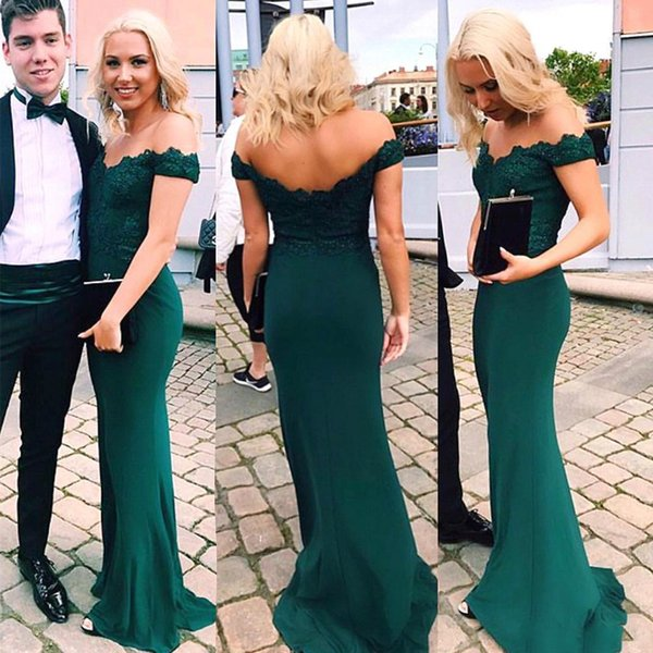 2018 Emerald Green Mermaid Evening Dresses Off the Shoulder Lace Satin Sweep Train Women Formal Prom Party Gowns BA9298