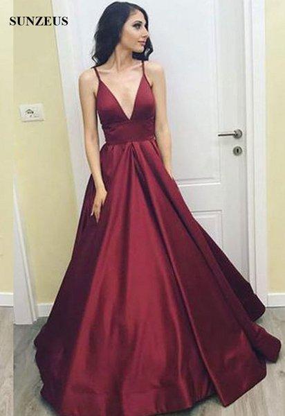 Compre Vino Rojo Vestidos De Noche Largo Satén Vestido De Fiesta Para Mujer Sexy Profundo Escote En V Correas Espaguetis Vestidos Formales Dama A