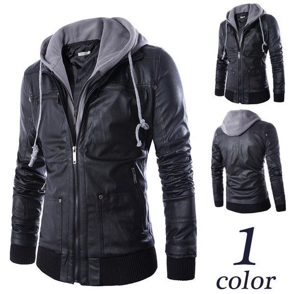 Mens False Two Leather Jacket Male Casual PU Faux Leather Hooded Jacket Autumn Winter Biker Coat