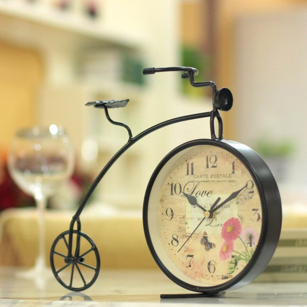 Wrought iron bicycle clock clock desk decoration fashion mute vintage table decor land colock for decoration