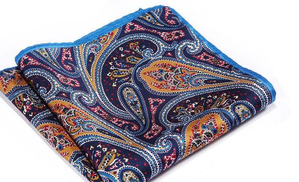 Fazzoletto da taschino Hisdern blu navy arancione naturale in raso di seta da uomo