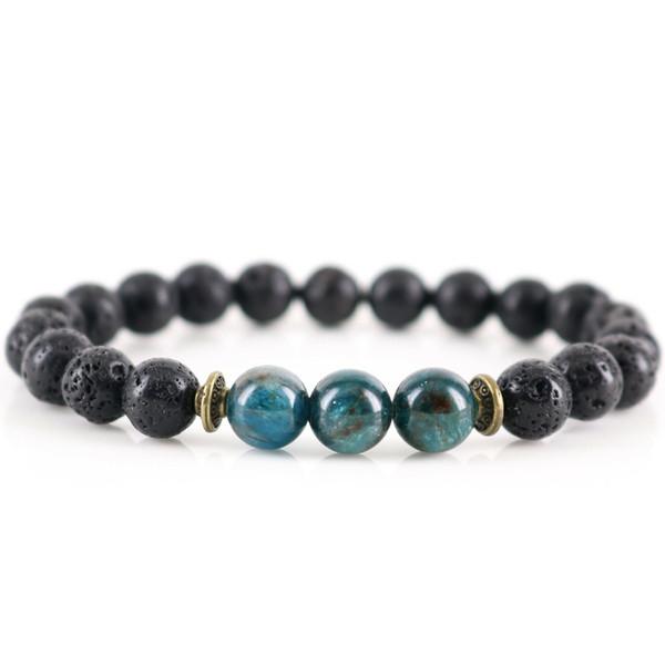 New Handmade Natural Lava Stone Healing Apatite Chakra Meditation Bracelet Protection Volcanic Emotional Balance Gift for Him