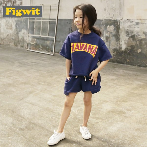 c4ef24d09b594 2018 Figwit Girls Summer Clothing Set Short Sleeve Letter Blue Orange Top  Tee Shirt Cotton Half Sleeve For Teen Girls 13 8 From Sightly, $28.14 | ...
