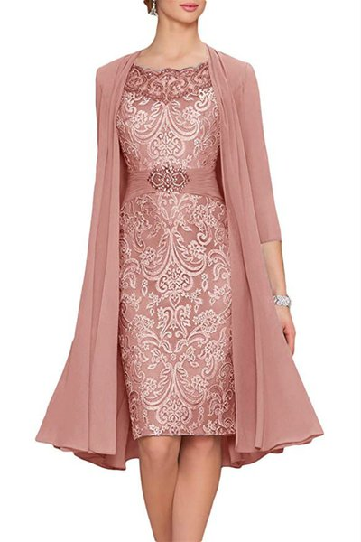 Charming Two Pieces Sheath Lace Mother Formal Wear With Jacket Mother of groom Wedding Guest Dress Evening Mother Of Bride Dress Gowns