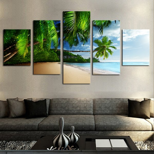 Poster Art Canvas Painting Wall 5 Piece Sea And Coconut Tree Modular Landscape Picture For Living Room HD Print Framework