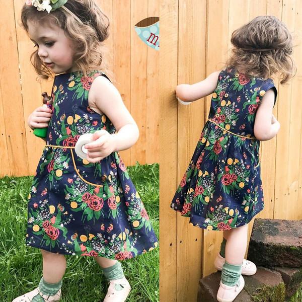 Baby Kleid 2018 Sommer Kleinkind Kleidung Baby Kinder Mädchen Blume Prinzessin Kleid Strand Sommerkleid Baby Mädchen Kleidung Boutique Mädchen Kleidung