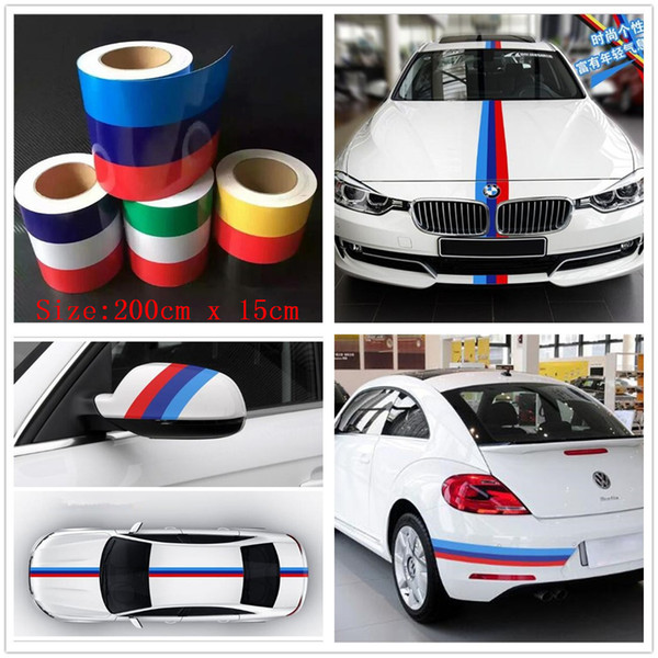 """2M/79"""" M-Colored Stripe Car Sticker For BMW Exterior Cosmetic Hood Roof Bumpers High Quality 4 Colors Free Shipping"""