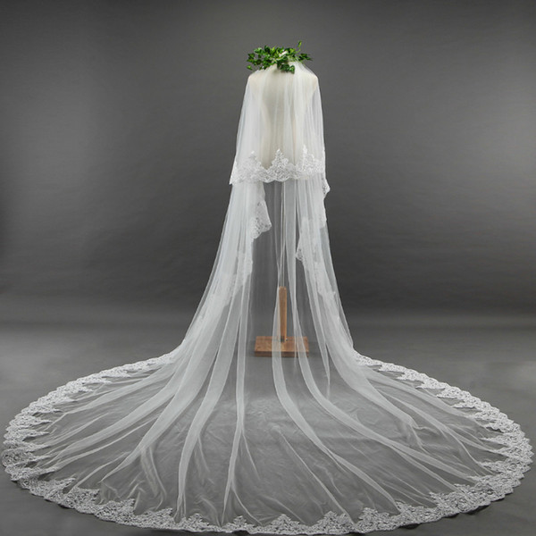 Pure ivory Lace Appliques Top Grass 3M Long Tail One-Layer Lace Edge Long Train Beautiful Bridal Veil For Wedding Dress