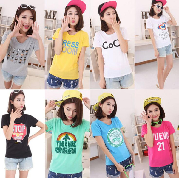 100 pieces wholesale Summer low price cost women's short-sleeved t-shirt stock Stall street Women girl clothes Woman ladies shirts crop tops