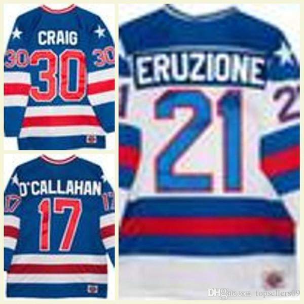 1980 olímpica EUA Milagre Hóquei Jersey Homens 30 Jim Craig 17 Jack O'Callahan Vintage 21 Eruzione Branco Royal Blue Costurado