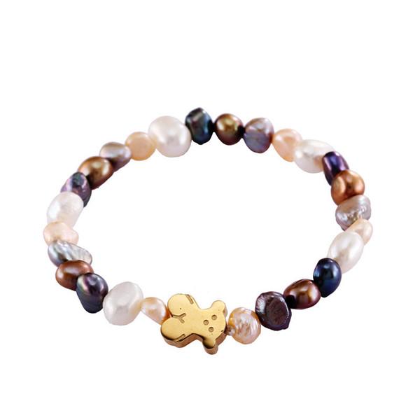 2018 Little Bear bangle Bracelet Nature Irrgular Pearl Bracelet Silver Gold Rose Gold Women Bear Jewelry for Birthday Gift