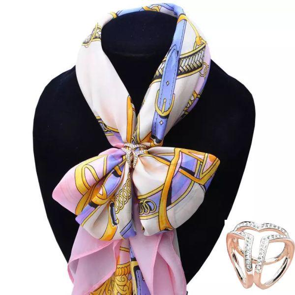 Al por mayor-Nueva marca de oro de plata estéreo del corazón de la hebilla de la hebilla de la boda Broche de Navidad Simulado Crystal Holder bufanda de seda joyería R1004