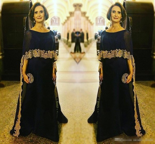 Elegant Navy Long Chiffon Mother Of The Bride Dresses With Wrap Gold Appliques A-Line Plus Size Formal Arabic Evening Dress For Groom Mother