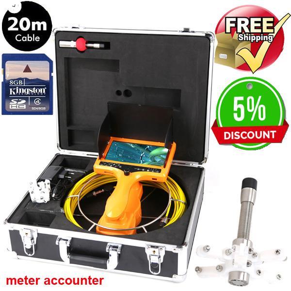 40m DVR Drain Endoscopio Cámara de alcantarillado de tuberías Cámara de agua a prueba de agua Cámara de visión nocturna de 12 leds con contador de contadores