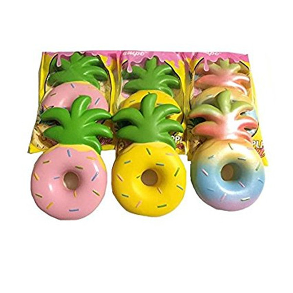Cute Fruit Squishy 16cm Pineapple Donut Soft Slow Rising Phone Straps Pendant Cream Scented Squeeze Cake Bread Kid Toys