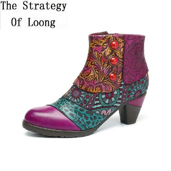 Fashion Handmade Patchwork Women Boots Genuine Leather Round Toe Split Heels Flower Sewing Plus Size Short Boots 20181102