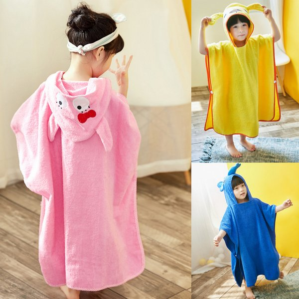 New Fashion Children Bathrobe Kids Toddler Animal Design Cotton Hooded Towel Boys Girls Cape Cloak Bath Towel Night Robe Free Shipping