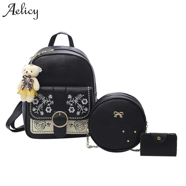 Aelicy Fashion Embroidery Style Composite Bag Pu Leather Backpack Women Cute 3 Sets Bag School Backpacks For Teenage Girls