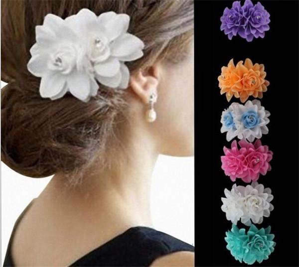Moda Lady Bayan Kız çiçek Saç Klipler Tokalarım Tokalar Aksesuarları Kumaş Metal Düğün Parti Hediye J094