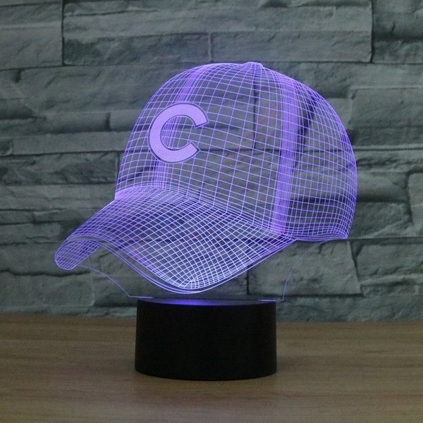 3d light chicago cubs baseball team cap hat nightlight led desk table lamp for kids sleeping light up toy