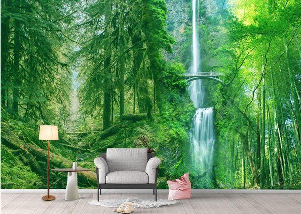 Personnalisé Woods paysage 3d papier peint salon décoration photo papier peint non tissé toile de fond moderne télévision
