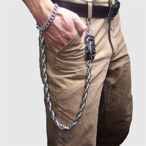 Porte-clés pour hommes taille lourde rock métal Hip Hop Punk squelette pantalon pantalon Jean Biker portefeuille ceinture chaîne porte-clés DR56