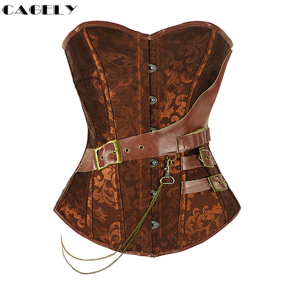 Steampunk Corset With Chain Buckles Retro Cosplay Fancy Party Outfits Pirate Girl Dress Coffee Black Lacing Up Basque Top S-6XL