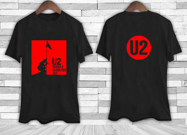 """Order T Shirts Short Cotton Crew Neck Mens New U2 Rock Band """"Under A Blood Red Sky"""" Shirts"""