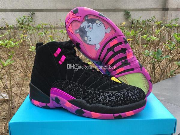 Satılık Mens Yüksek Kalite 12 Doernbecher DB Basketbol Ayakkabıları Siyah / Hiper Menekşe-Pembe Patlama 12 s