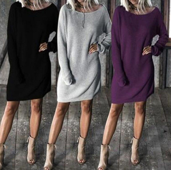 Women Long Batwing Sleeve Round Neck Solid Loose Sweater Dresss Pullover Tops Loose Knitted Dress 3 Colors OOA4501