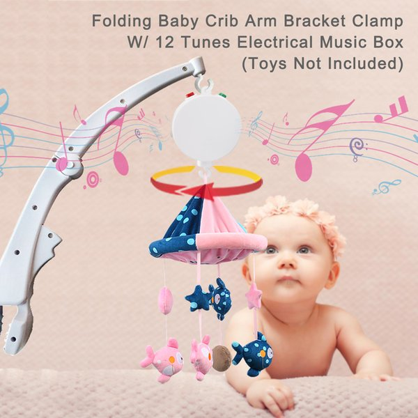 Folding Baby Crib Arm Bracket Clamp, environmental friendly ABS material in white, W/ 12 Tunes Electrical Music Box, easy to install
